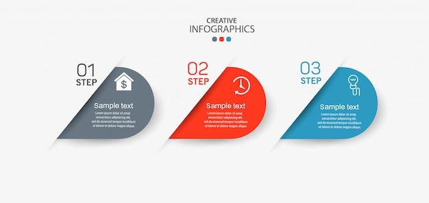 Infographicelement met pictogrammen en 3 opties of stappen