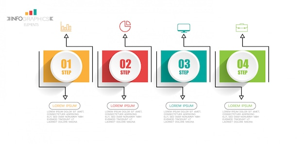 Infographicelement met pictogrammen en 4 opties of stappen.