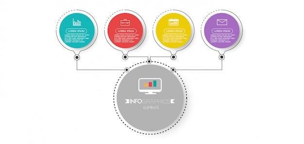 Infographicelement met pictogrammen en 4 opties of stappen.