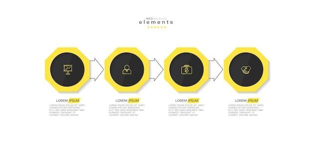 Infographicelement met pictogrammen en 4 opties of stappen