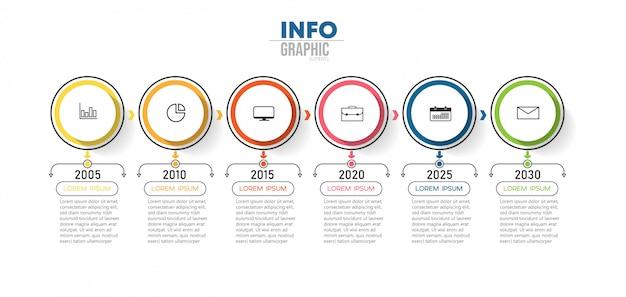 Infographicelement met pictogrammen en 6 opties of stappen. kan worden gebruikt voor proces, presentatie, diagram, werkstroomlay-out, infografiek