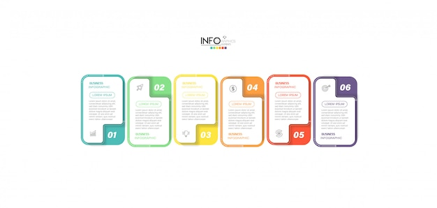 Infographicelement met pictogrammen en 6 opties of stappen