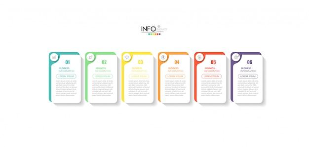 Infographicelement met pictogrammen en 6 opties of stappen