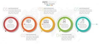 Infographicelementen met pictogram en optie.