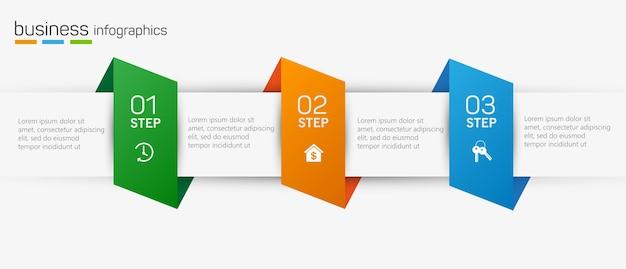 Infographicelementen met pictogrammen en 3 opties of stappen