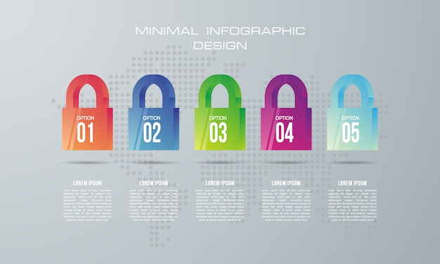 Infographicmalplaatje met 5 opties, werkschema, procesgrafiek, het ontwerp van de chronologieinfographics