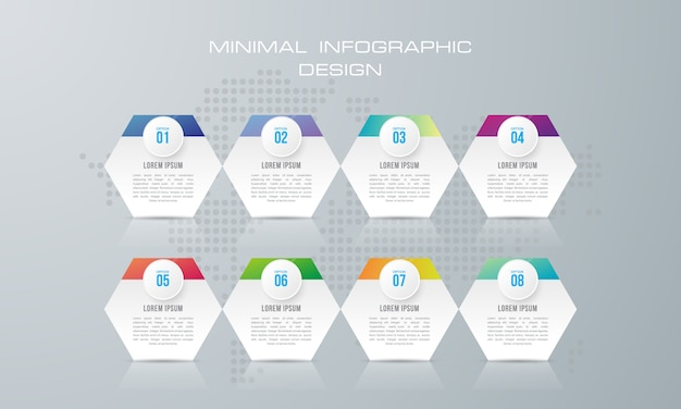 Infographicmalplaatje met 8 opties, werkschema, procesgrafiek, het ontwerp van de chronologieinfographics