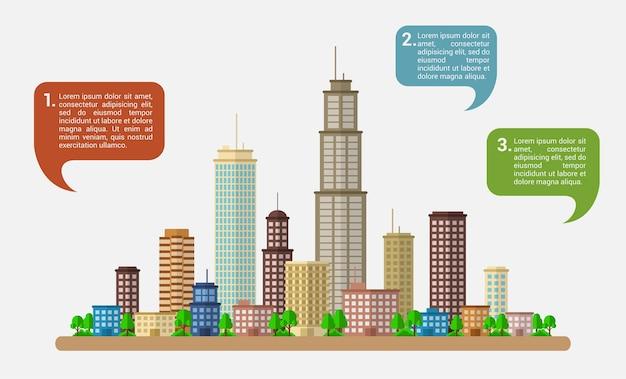 Infographicmalplaatje met moderne grote stad en toespraakbellen, stijlillustratie