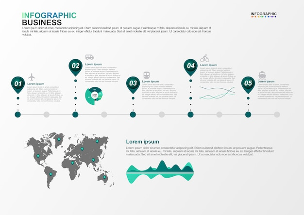 Infographicmalplaatje voor bedrijfs5 opties in vervoersconcept