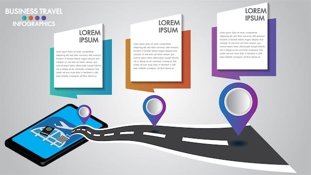 Infographicontwerp 3d mobiele tablet met wegnavigatie, concept navigatortechnologie