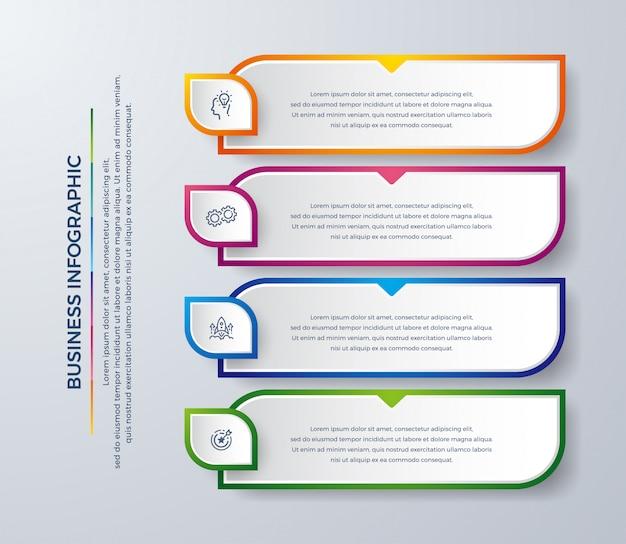 Infographicontwerp met moderne kleuren en eenvoudige pictogrammen.