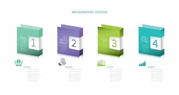 Infographicontwerp met pictogrammen en 4 opties of stappen dunne lijnvector