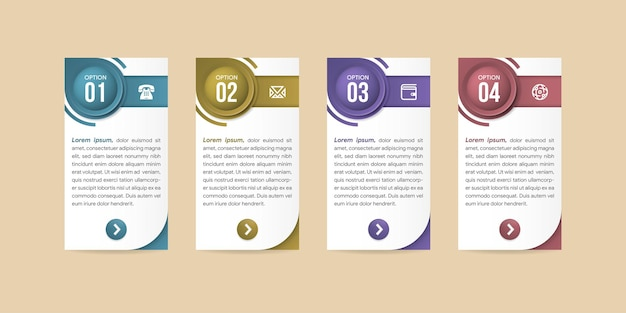 Infographicontwerp met pictogrammen en 4 opties of stappen