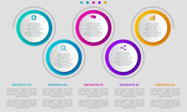 Infographicontwerp op de grijze achtergrond