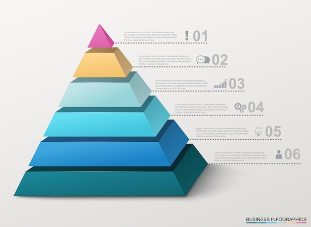 Infographicpiramide met cijfers en bedrijfspictogrammen.