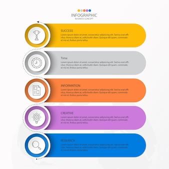 Infographics 5 element van cirkels en basiskleuren voor huidig bedrijfsconcept.