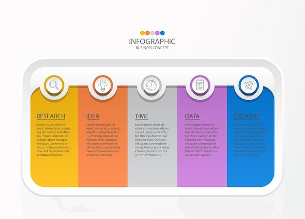 Infographics 5 element van vierkante en basiskleuren voor huidig bedrijfsconcept.