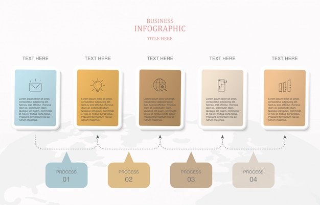 Infographics 5 elementvierkant en basiskleuren.