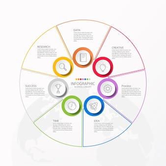 Infographics 7 element van cirkels en basiskleuren voor huidig bedrijfsconcept.