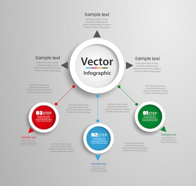 Infographics aantal optiesjabloon met 3 stappen.