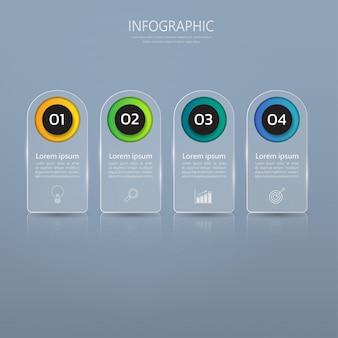 Infographics banner sjabloon in glas of glanzende stijl.