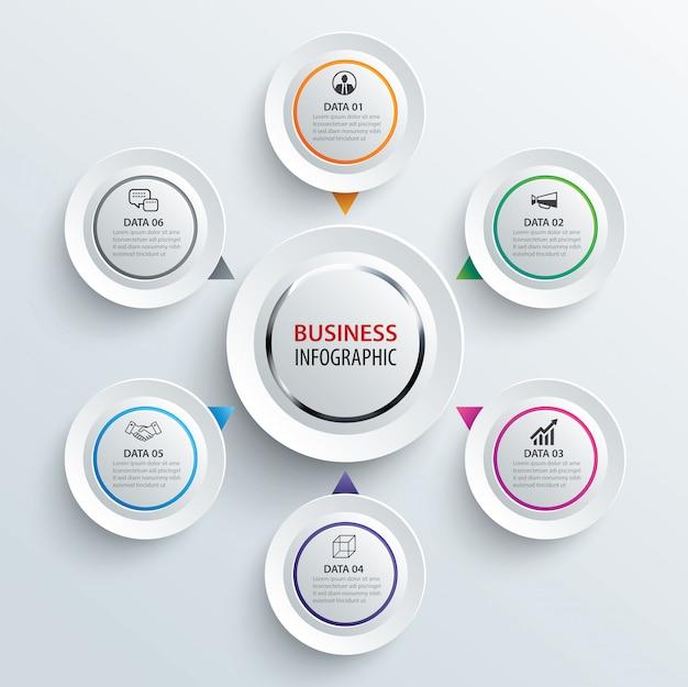 Infographics cirkel papier met 6 gegevenssjabloon.