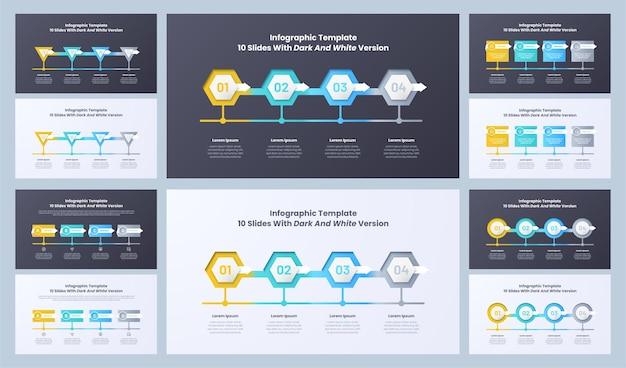 Infographics dia sjabloon ontwerpset template
