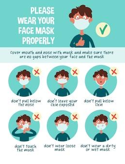 Infographics. draag uw gezichtsmasker op de juiste manier.