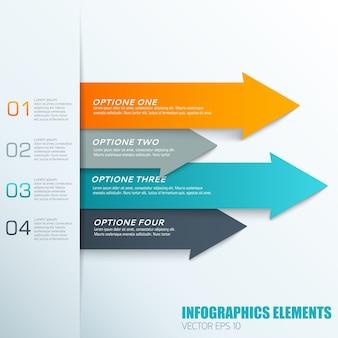 Infographics elementen concept met kleurrijke horizontale pijlen en geordende tekstvelden
