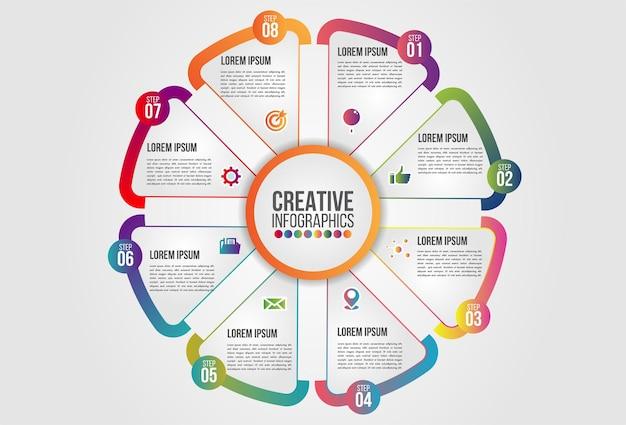 Infographics grafiek met 8 stappen opties bedrijfsconcept sjabloon