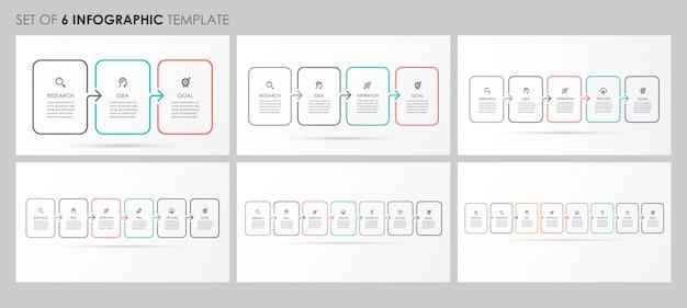 Infographics instellen met pictogrammen en 3, 4, 5, 6, 7, 8 opties of stappen. bedrijfsconcept.