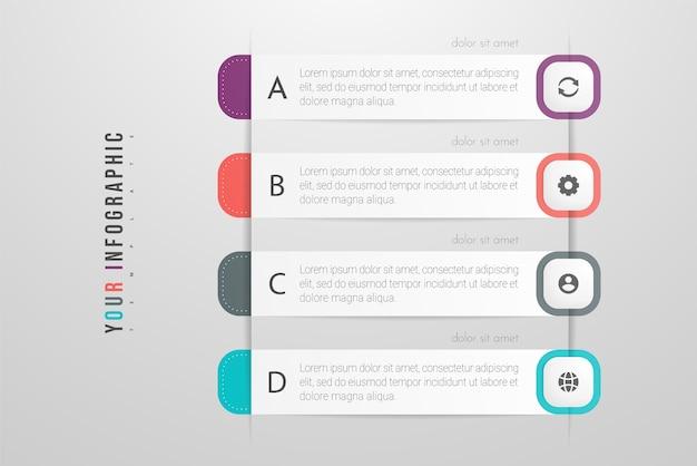 Infographics kan worden gebruikt voor werkstroomlay-out, diagram, jaarverslag, webdesign. bedrijfsconcept met opties, stappen of processen.