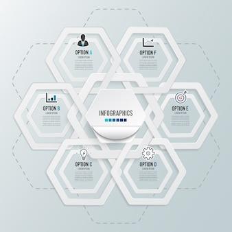 Infographics met 6 opties, sjabloon voor brochure, business, webdesign