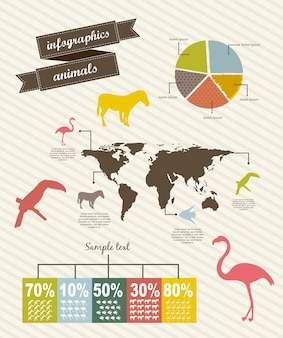 Infographics met bar vintage stijl vectorillustratie