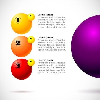 Infographics met groep vliegende ballen