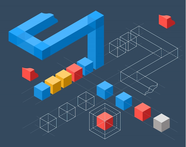 Infographics met platte gekleurde kubussen