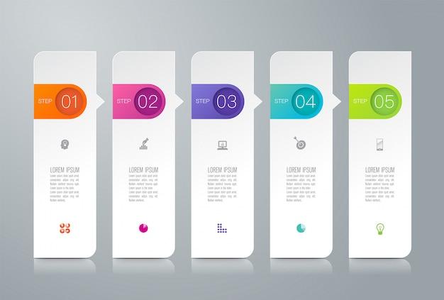 Infographics met stappen en opties