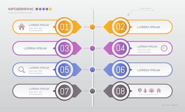 Infographics met vijf stappen sjabloon met pictogrammen