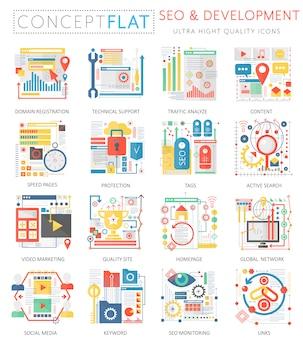 Infographics mini concept seo en ontwikkeling pictogrammen voor web