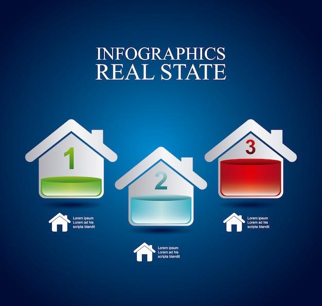 Infographics onroerend goed over blauwe achtergrond vectorillustratie