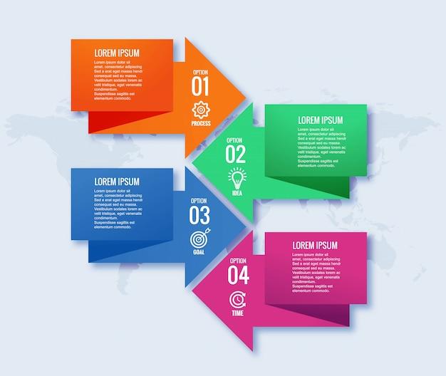 Infographics ontwerpsjabloon creatief concept met vier stappen