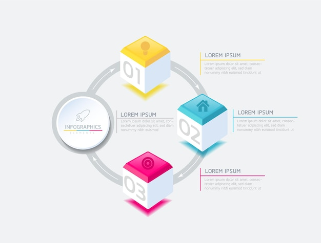 Infographics ontwerpsjabloon grafiek met 3 opties of stappen