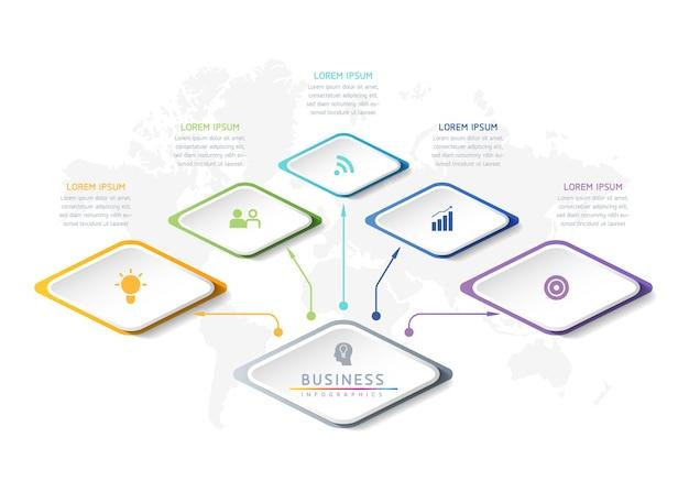 Infographics ontwerpsjabloon grafiek met 5 opties of stappen