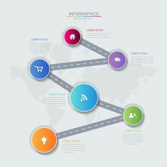 Infographics ontwerpsjabloon grafiek met 6 opties of stappen