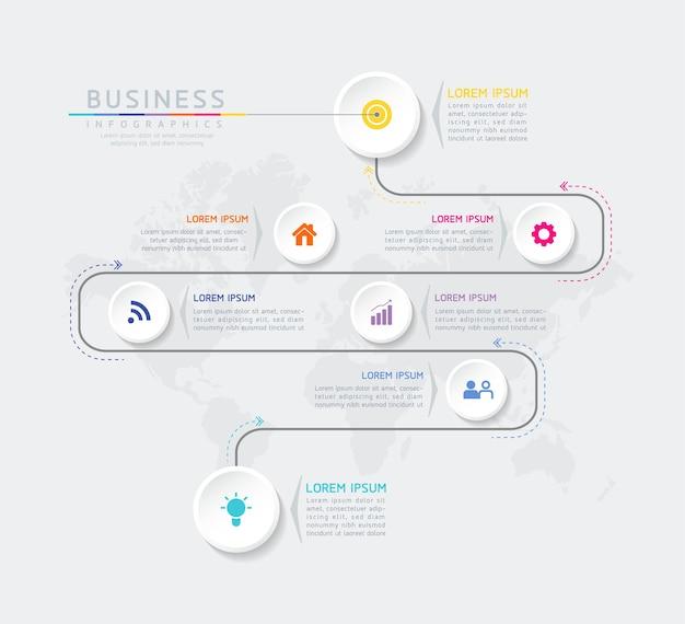 Infographics ontwerpsjabloon grafiek met 7 opties of stappen