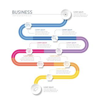 Infographics ontwerpsjabloon grafiek met 9 opties of stappen