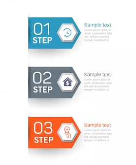 Infographics ontwerpsjabloon met 3 opties, stappen of processen