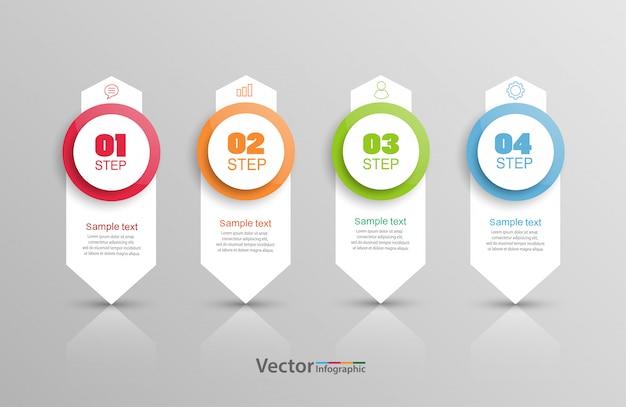 Infographics ontwerpsjabloon met 4 stappen of opties
