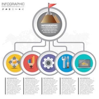 Infographics ontwerpsjabloon met opties, processchema.