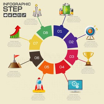 Infographics ontwerpsjabloon met opties, processchema